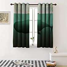 Fantasy Room Darkening Wide Curtains Surreal Giant Whale in The Middle of Sea and Little Sailboat on The Surface Print Window Curtain Drape W108 x L72 Inch Green Beige
