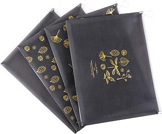 4 Packs Zipper File Bag,A4 Size Waterproof Receipt Organizer Paper Document Multipurpose Bags, Black Non-Woven Bag for Off...