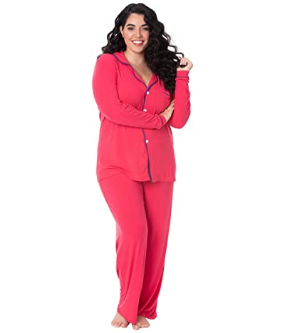 Kickee Pants Collared Pajama Set (Flag Red/Navy) Women