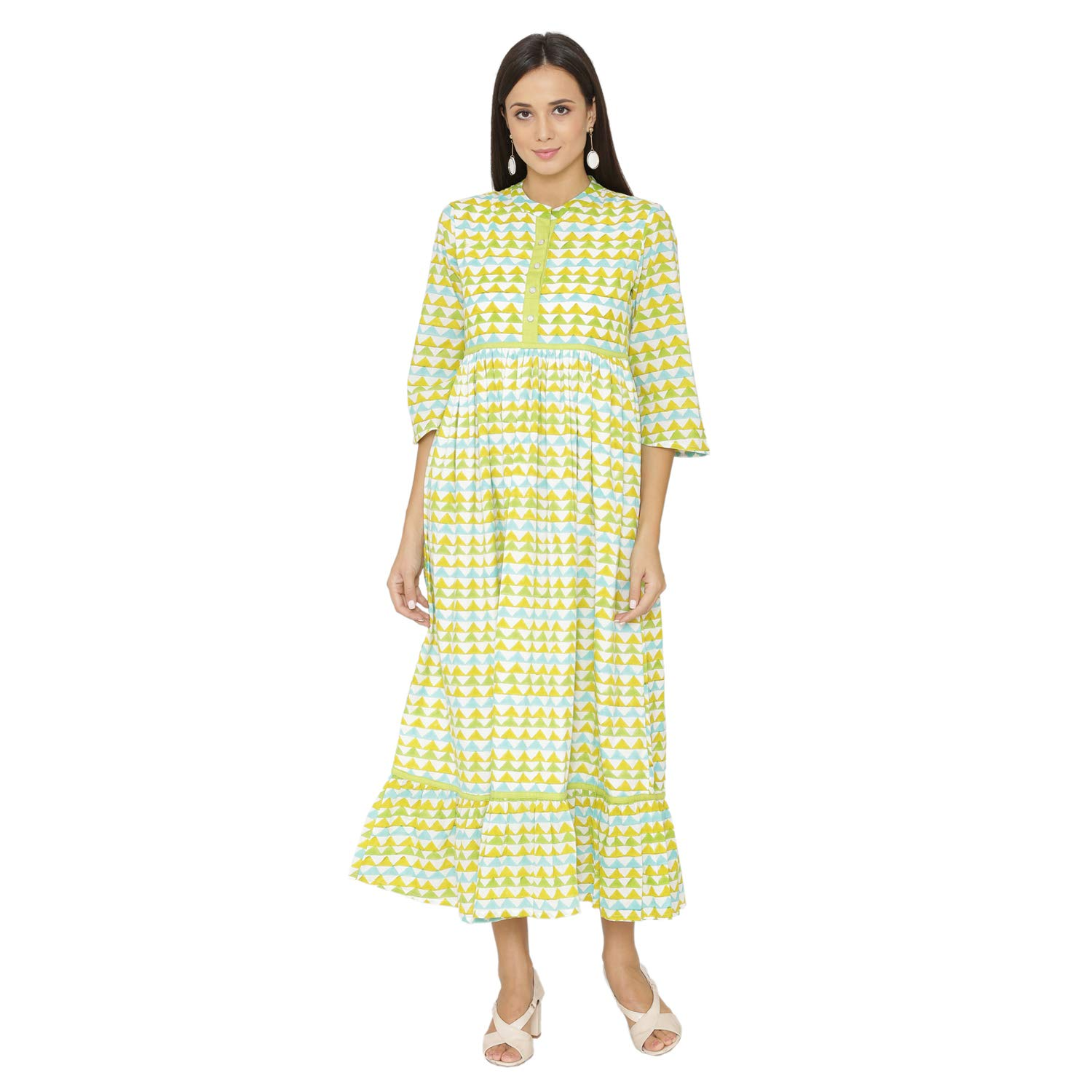 Available at Amazon: PINKSHINK Women's Green Pure Cotton Casual Loose Summer Maxi Dress with Pockets