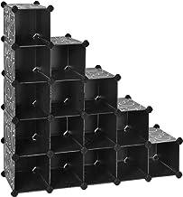 SONGMICS Estantería Modular de Plástico PP, Zapatero, Organizador de 16 Cubos, 113 x 36 x 113 cm, Negro Estampado LPC44H