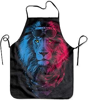 N\A Colorido Delantal Ajustable de león para Cocina Barbacoa Barbacoa Cocina señora 's Men' s Gran Regalo para Esposa Damas Hombres Novio