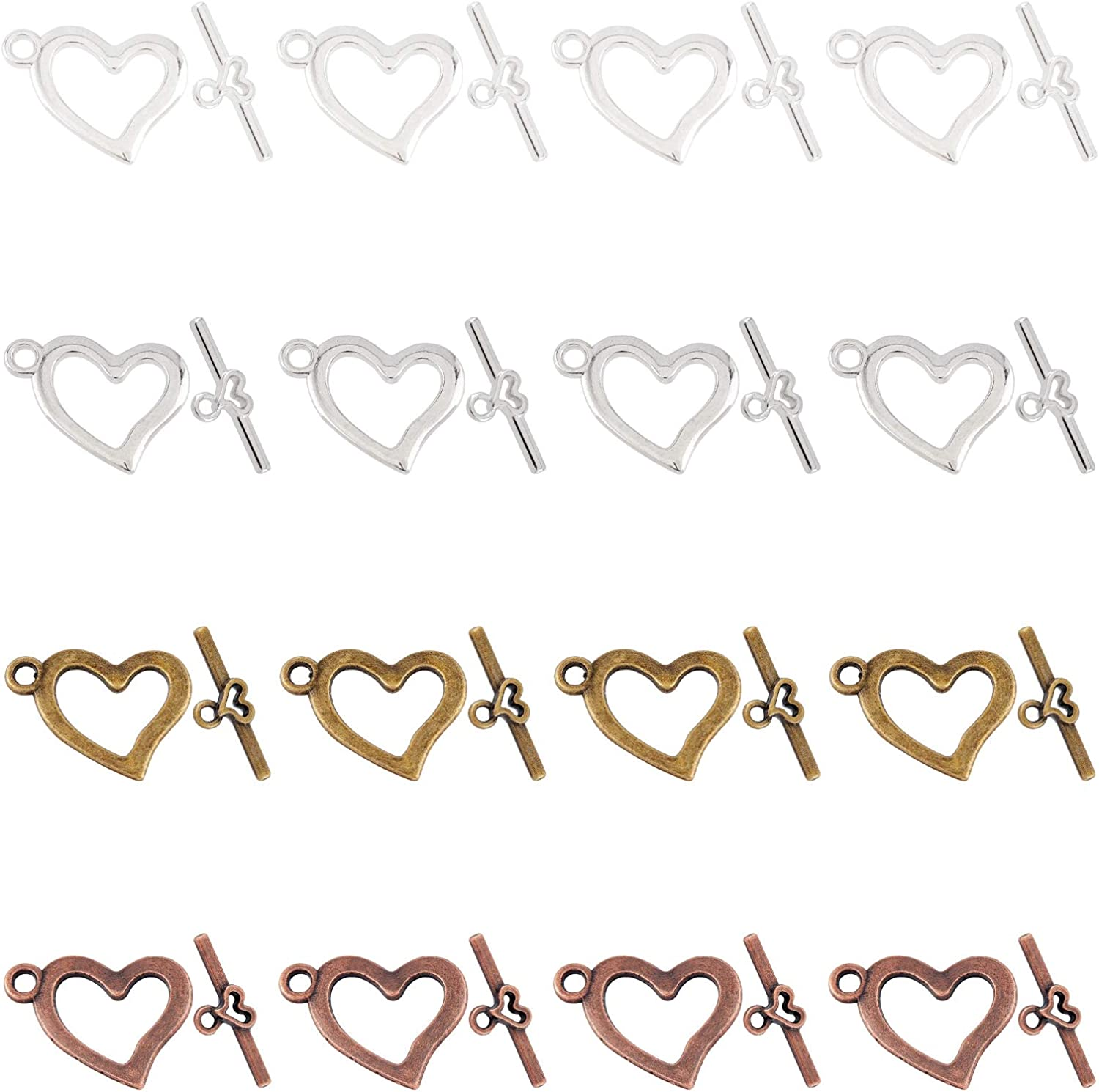 SUPERFINDINGS Max 89% OFF About 80sets 4 Colors 15mm Toggle Heart Alloy Wide Oklahoma City Mall