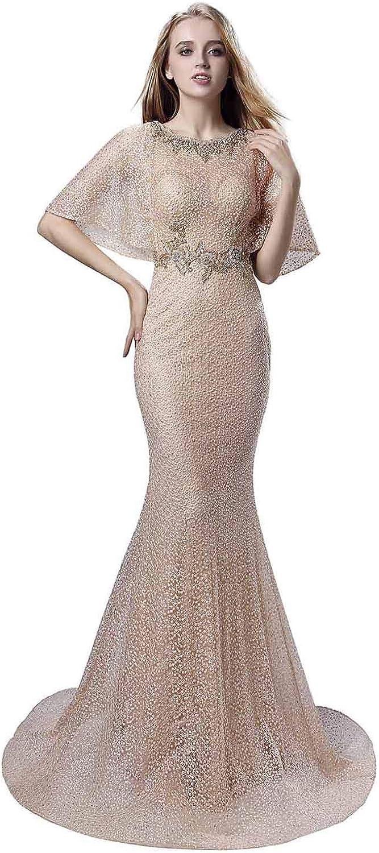 Belle House bluesh Prom Dresses Long Sleeve Sheer Neck Evening Dress Mermaid Ball Gown Women