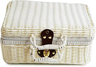Bamboo Picnic Basket Storage Fruit Basket Mini Food Basket Storage Container for Outdoor Rattan Baskets Travel Suitcase,White,22x16x10 cm
