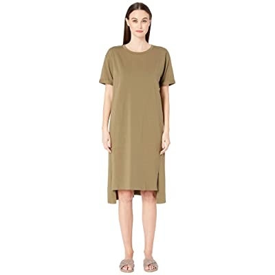 Eileen Fisher Organic Cotton Jersey Short Sleeve Dress (Olive) Women