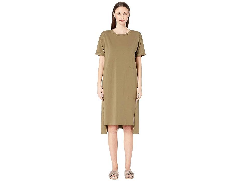 Eileen Fisher Organic Cotton Jersey Short Sleeve Dress (Olive) Women