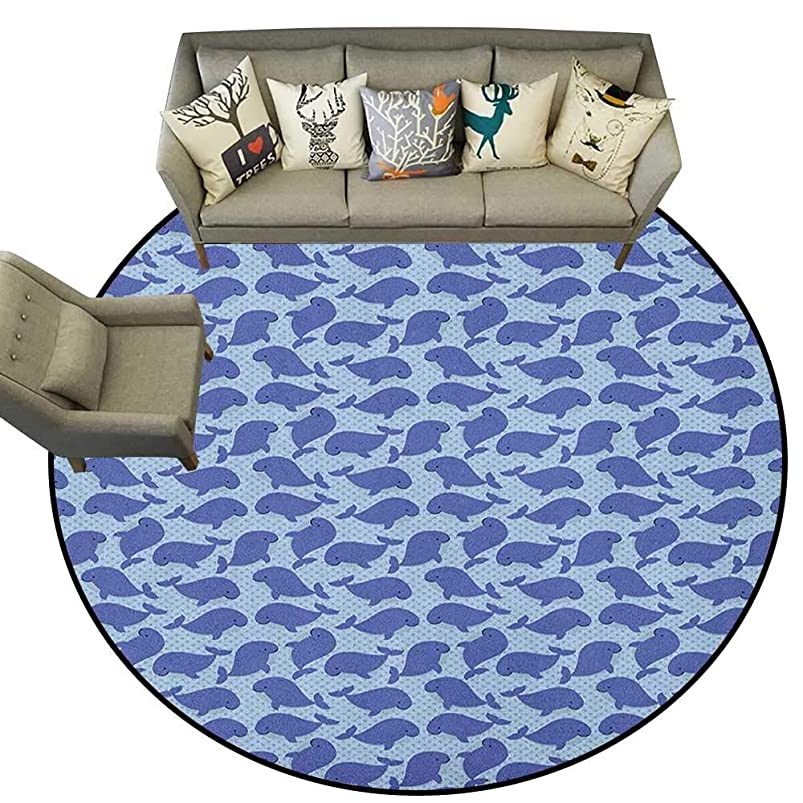 Whale,Throw Rugs Pattern with Cute Cartoon Whales Shoal on Blue Background with Polka Dots D60 Non-Slip Bath Hotel Mats uibupodk310769