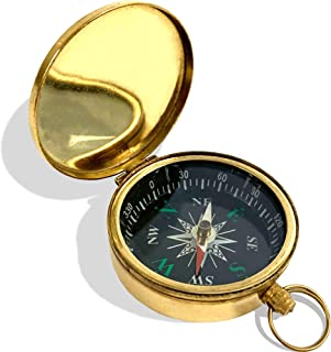 IOTC Direction Small Golden Pocket Compass Black Dial w/Green Explorer Navigation Tool - 100% Hand Made Vintage Pice Made of Solid Brass