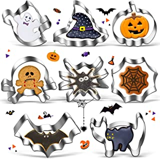 8 PCS Halloween Cookie Cutter Set, Stainless Steel DIY Baking Mould for Suger Cake and Cookie