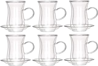 Liying Double Wall Big Cup and Soucer Set of 12 Pieces, Clear