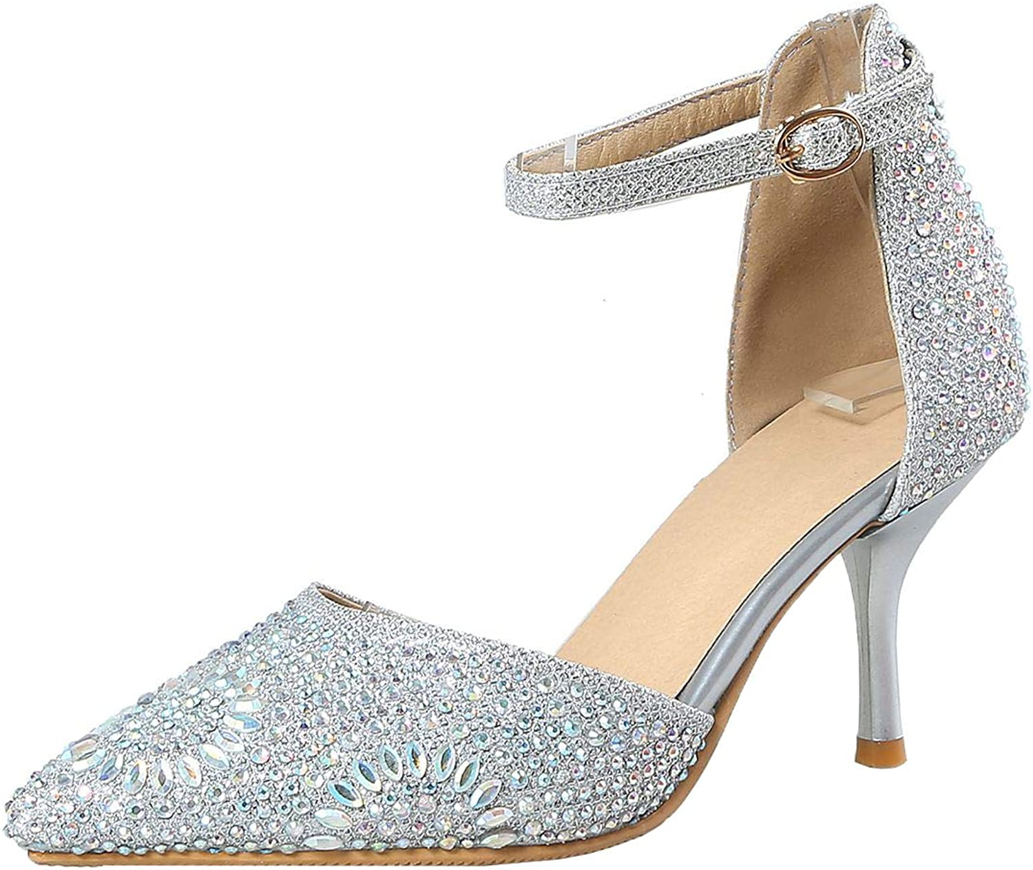 Vitalo Womens Crystal Rhinestone Pointed Toe Pumps Glitter Ankle Strap D'Orsay shoes