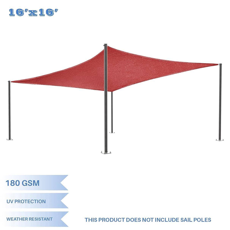E&K Sunrise 16' x 16' Red Rectangle Sun Shade Sail Outdoor Shade Cloth UV Block Fabric,Curve Edge-Customized