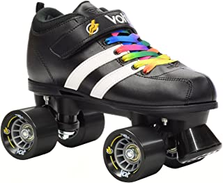 Riedell RW Volt Black & White Roller Derby Quad Speed Skates With Rainbow Laces