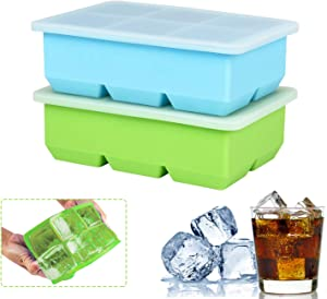 Silicone Ice Cube Tray 2 Pack, BPA Free, Easy Release Ice Trays with Lid, 6 Cavities Reusable Ice Cube Mold for Cocktail, Beverages, Wine, Dishwasher Safe (Blue & Green)