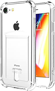 ANHONG iPhone SE2 2020/7 / 8 Case with Card Holder, [Slim Fit] Protective Soft TPU Shock-Absorbing Bumper Floral Case with Soft Screen Protector, Compatible iPhone SE 2020/7/ 8 4.7 Inch (Clear)