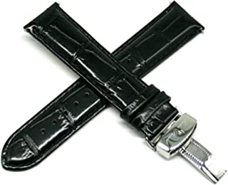 20MM Alligator Grain Genuine Leather Watch Strap 8 Inches Black with Silver LP Clasp Fits Besana
