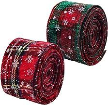 2 Rolls 5yd Geruite Jute Bedrade Lint Kerst Wrapping Lint Klassieke Bedrade Rand Tartan Lint Rood Groen Sneeuwvlok Stof Li...