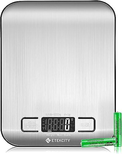 ETEKCITY Balance Cuisine Electronique 5kg Ultra-mince avec Grand Ecran LCD, Balance Alimentaire Inox avec Précision d...