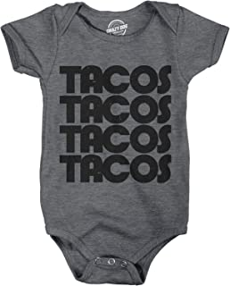 Crazy Dog T-Shirts Creeper Tacos Tacos Tacos Funny Mexican Bodysuit for Newborn Baby