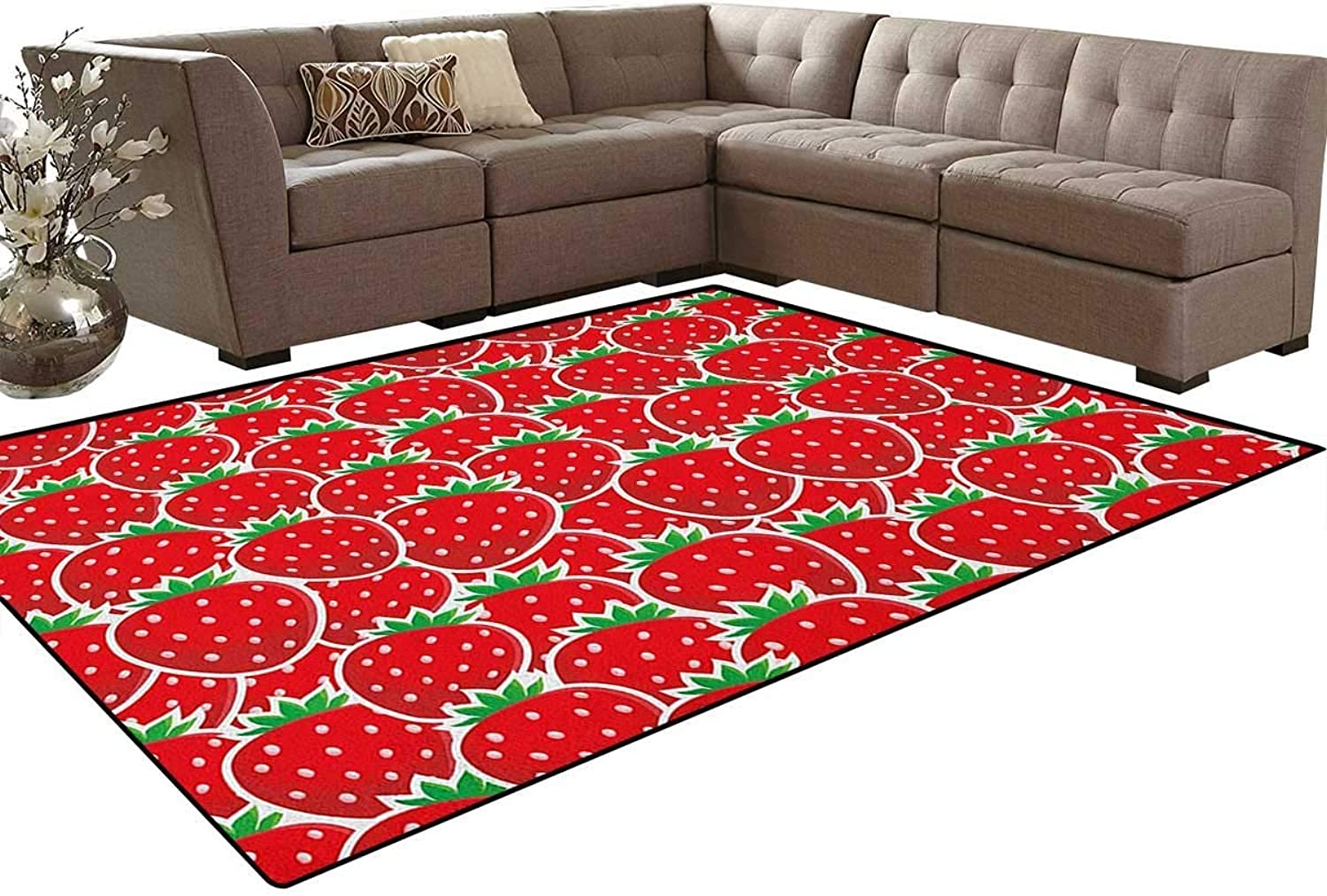 Strawberry Themed Botany Seeds Yummy Food Organic Growth Diet Health Print Floor Mat Rug Indoor Front Door Kitchen and Living Room Bedroom Mats Rubber Non Slip