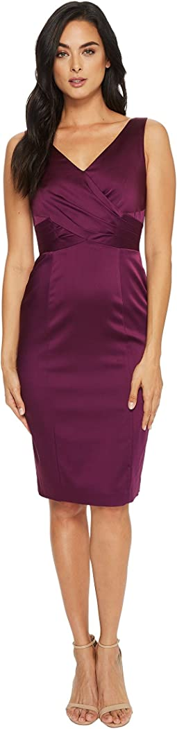 Tahari by ASL Satin V-Neck Sheath