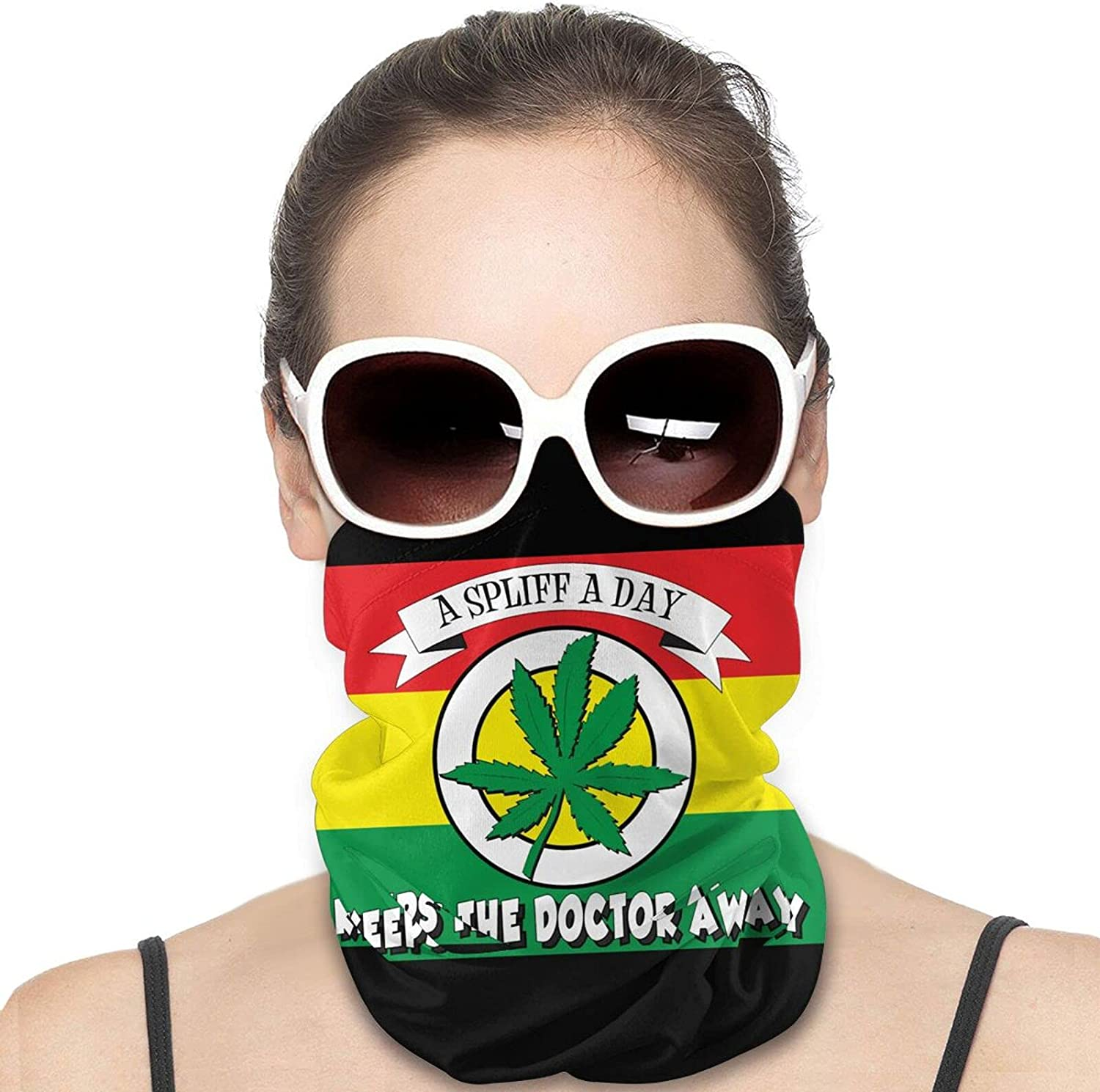 Spliff A Day Marijuana Pot Party Round Neck Gaiter Bandnas Face Cover Uv Protection Prevent bask in Ice Scarf Headbands Perfect for Motorcycle Cycling Running Festival Raves Outdoors
