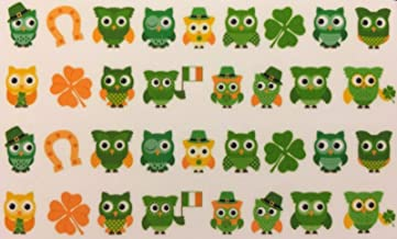 St. Patrick's Day Owls Irish Four Leaf Clover Decal Stickers Nail Art