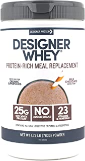 Designer Whey Protein Meal Powder, Milk Chocolate, 1.72 Pound, Non GMO