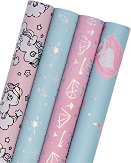 WRAPAHOLIC Gift Wrapping Paper Roll - Mermaid, Fairy Stick and Diamond Cute Design with Colorful Foil for Birthday, Holiday, Baby Shower Gift Wrap - 4 Rolls - 30 inch X 120 inch Per Roll