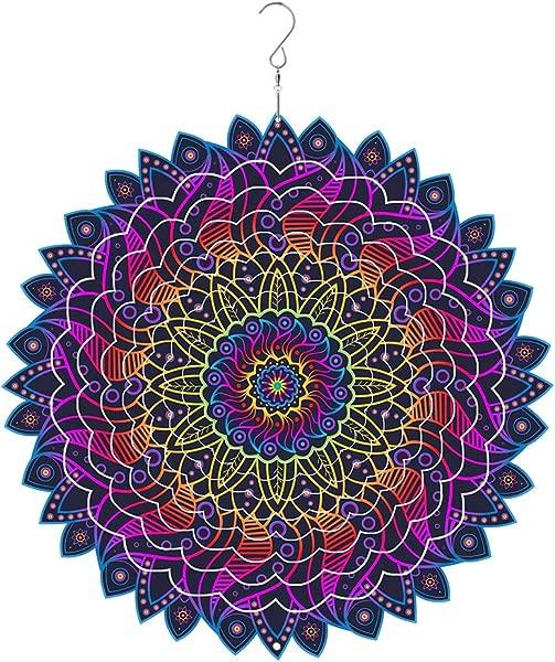 Windmas 3D Mandala Wind Spinner Decorations Laser Cut Metal Mandalas Art Starburst Hanging D Cor Indoor Outdoor Decor