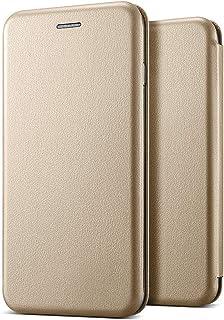 Microsonic Huawei P40 Lite Kılıf Ultra Slim Leather Design Flip Cover Gold