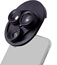 Phone Cameras Lens Kit with 3 in 1 & Trinity Angle Lens+ Fish Eye Lens +Macro Lens in Integrated Turntable for iPhone, Samsung, Huawei HTC,Smartphone & Notebook PC/iPad (Black) …