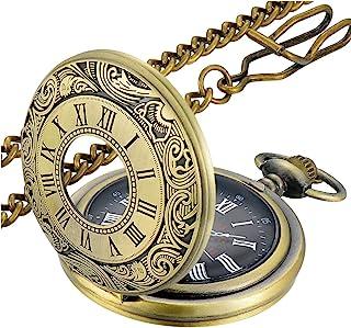 ساعتهای جیبی کوارتز اعداد رومی LYMFHCH ، ساعت مچی مردانه زنانه با هدیه روز پدران کریسمس زنجیره ای