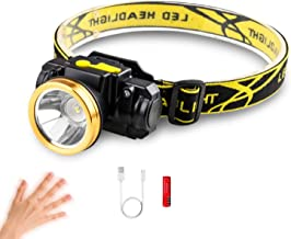 LED Headlamp, XM-L T6 High Lumen Waterproof 3 Modes LED Sensor Headlight Rechargeable Flashlight for Camping Riding Fishin...