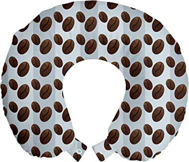 "Ambesonne Espresso Travel Pillow Neck Rest, Repeating Pattern with Cartoonish Coffee Beans on Lines, Memory Foam Traveling Accessory for Airplane and Car, 12"", Pale Ceil Blue Baby Blue"