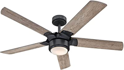 Westinghouse Lighting 7225900 Morris, Vintage Industrial LED Ceiling Fan with Light and Remote Control, 52 Inch, Iron Finish, Opal Frosted Glass