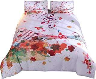 YOUSA Modern Watercolor Duvet Cover Set Musical Notes in Watercolors Style White Backdrop Print Bedding Sets (Twin,Music Note)