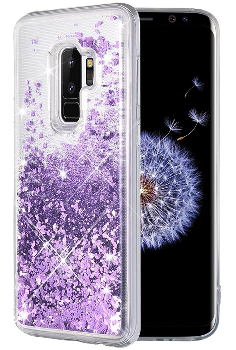 Caka Galaxy S9 Plus Case, Galaxy S9 Plus Glitter Case [Liquid Series] Luxury Fashion Bling Flowing Liquid Floating Sparkle Glitter Soft TPU Case for Samsung Galaxy S9 Plus - (Purple)