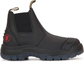 Work Boots for Men, 6 Inch Steel/Soft Toe, Slip On Water Resistant Boot