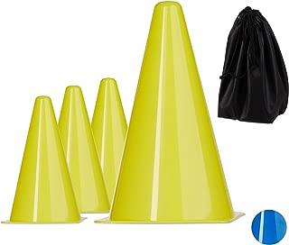 Relaxdays 10 件套田径锥/尼龙,带袋、足球和足球训练器材,标记,22 厘米