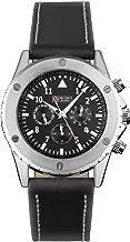 Military Mechanical Automatic Watch Men Black Leather Analog Chronograph Wrist