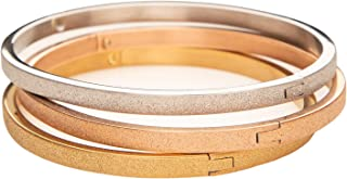 MOONSTONE Fashion Bracelet For Women Stainless Steel Dazzling Frosted Band Set Of 3 Hinged Clasp Bangles