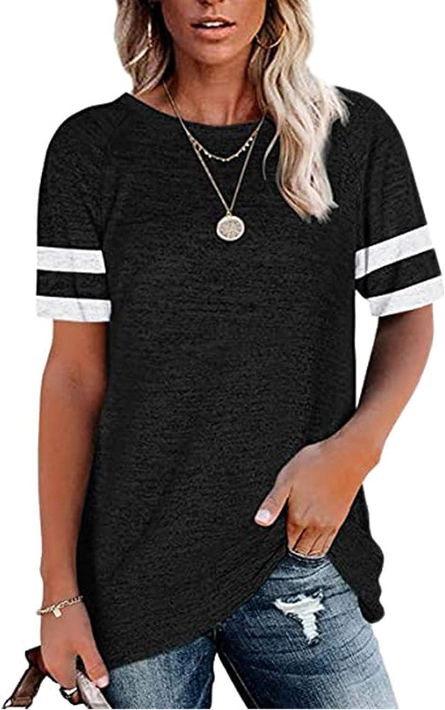 Women Casual Crewneck Sweatshirts Stripes Short Sleeve T-Shirt Tunic Blouse Tops