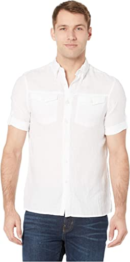 Slim Fit Linen Short Rolled Sleeve Shirt