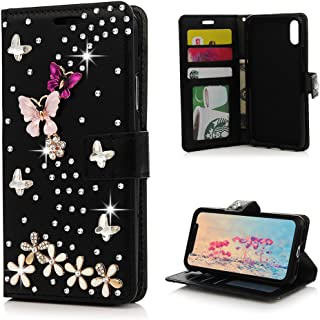 Mavis's Diary iPhone X Case, iPhone Xs Case, Crazy Horse Pattern PU Leather Floral Butterfly Flip Wallet Case 3D Handmade Bling Shiny Diamonds Glitter Skin with Card ID Slots Kickstand - Black