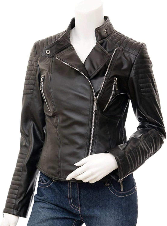 New Women's Black Leather Motorcycle Biker Jacket Soft Lambskin LFWN400
