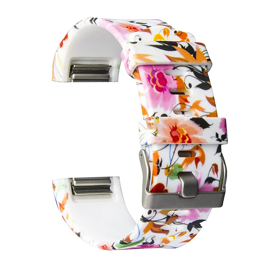 MOACC Replacement for Fitbit Charge 2 Band, Soft Silicone Adjustable Sport Strap Printed Bands with Classic Buckle Fitness Accessory Wristband for Fitbit Charge2