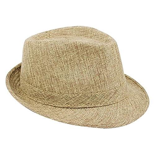 bcf4c077aef Bodhi2000 Unisex Linen Travel Fedoras Hat Summer Beach Panama Cap