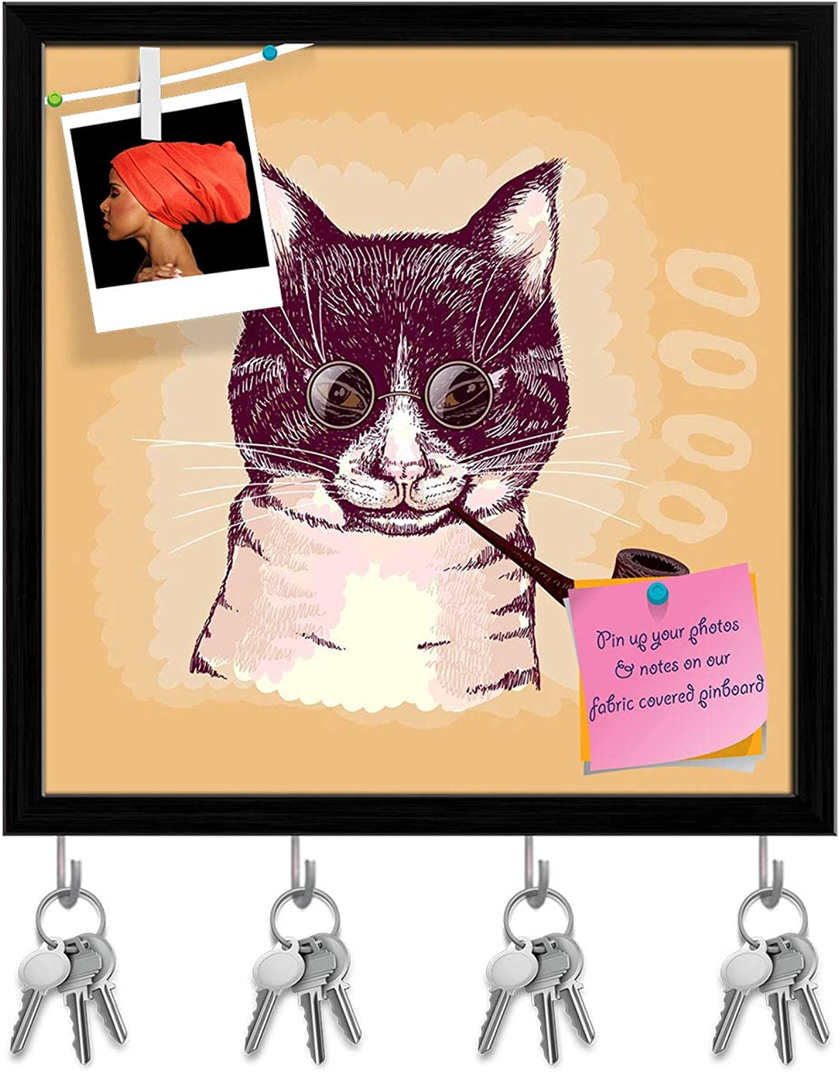 Artzfolio Portrait of A Cat Smoking A Pipe & Wearing Glasses Key Holder Hooks   Notice Pin Board   Black Frame 20 X 20Inch